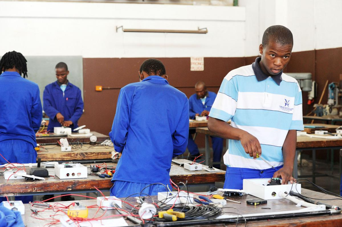Workers producing electronics at Yekani manufacturing factory in East London in the Eastern Cape.