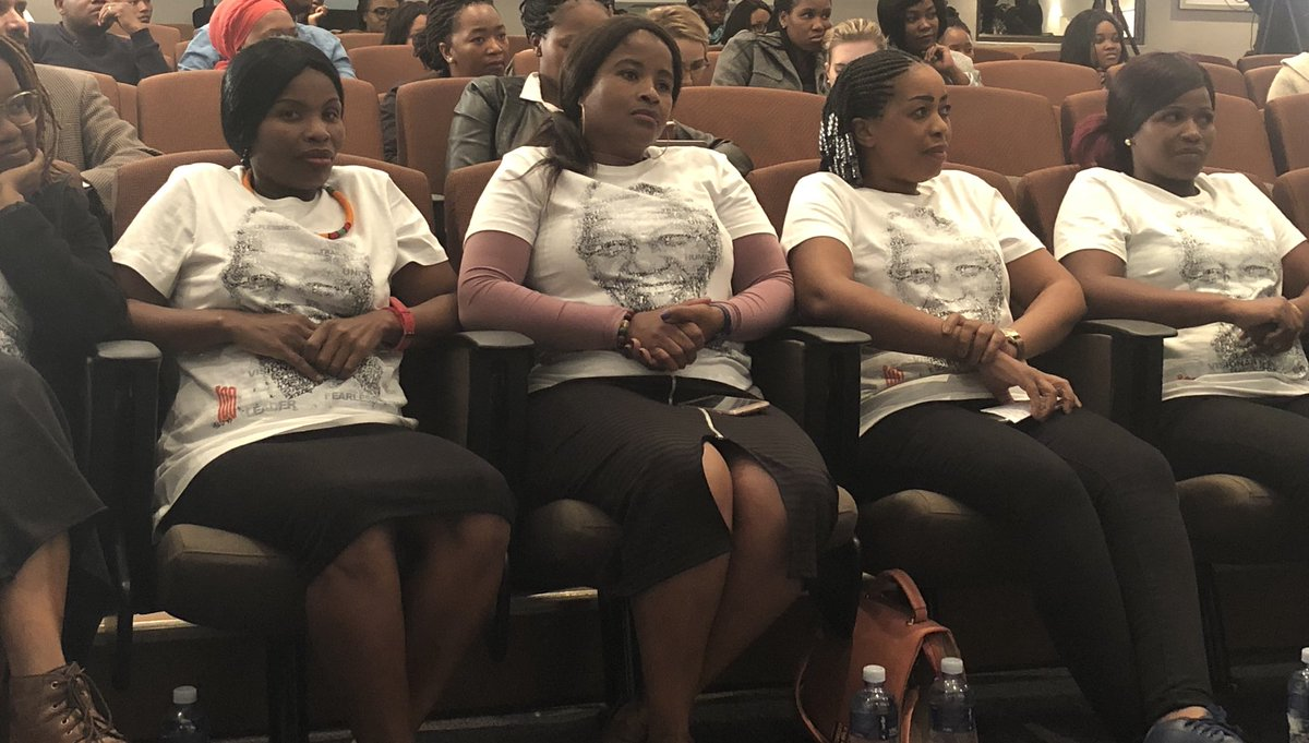 Some of the ladies who are employed with Trade Call Investments (TCI) Apparel (PTY) Ltd who wrote their stories on the t-shirts that will be sold locally and globally in line with the Nelson Mandela Centenary Celebration. [Credits:] Nelson Mandela Foundation Twitter page