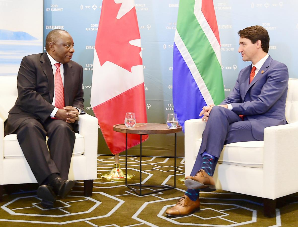 President Cyril Ramaphosa with Canadian Prime Minister Justin Trudeau during the G7 Leaders' Outreach Summit.