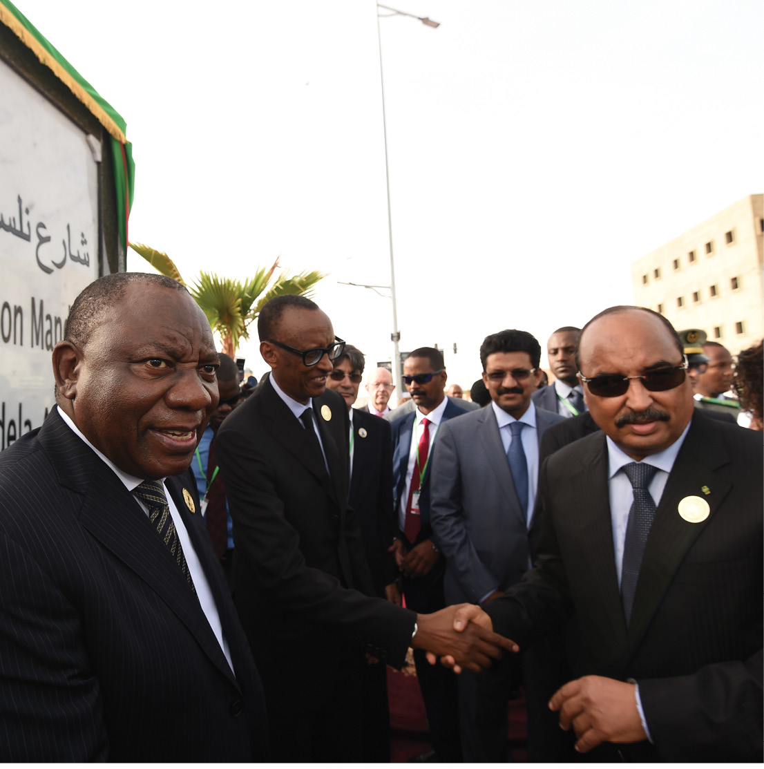 President Cyril Ramaphosa with Mauritania President Mohamed Ould Abdel Aziz during the naming of Nelson Mandela Avenue in Mauritania.