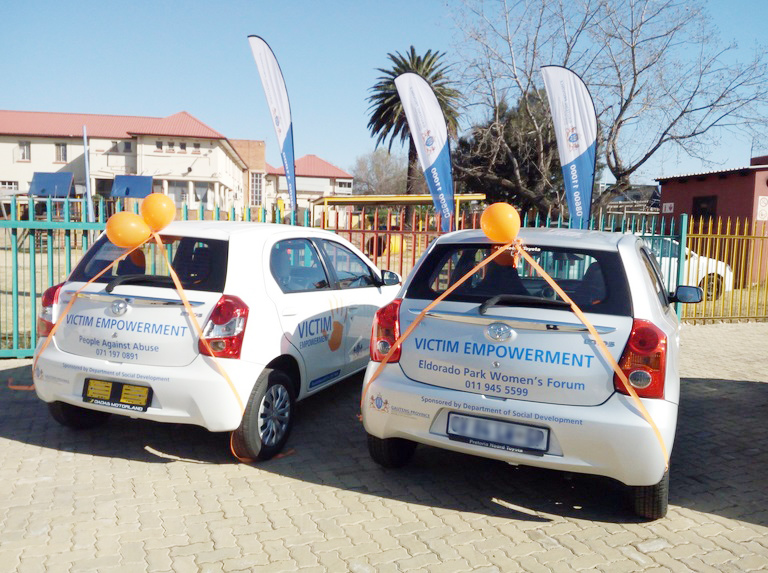 Some of the cars handed over by the Gauteng Department of Social Development that will assist NPOs that fight gender-based violence.