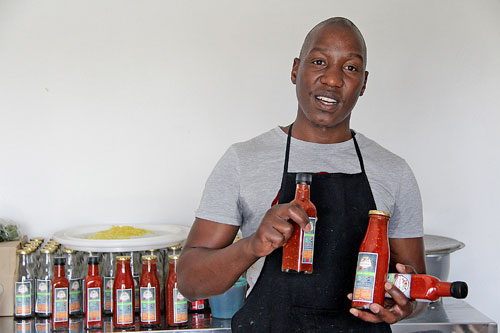 Nkosi Phungula runs a thriving chilli paste business.
