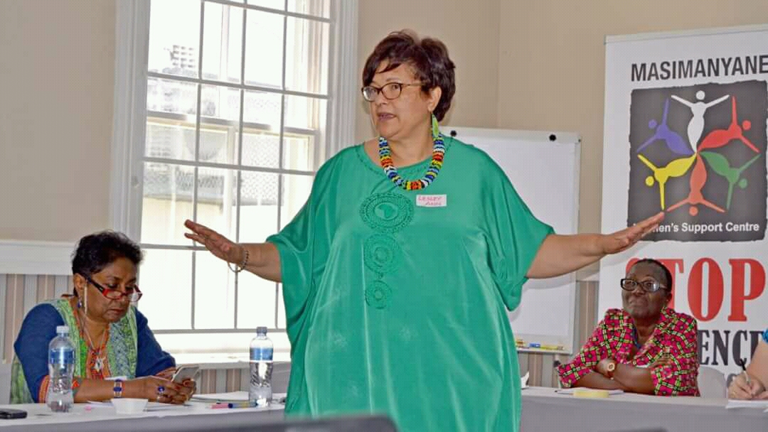 Dr Lesley Ann Foster founded the Masimanyane Women's Support Centre and is known as a champion for women's rights.
