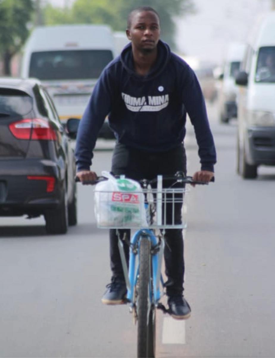 Thabang Dlamini peddles to success with his delivery business.