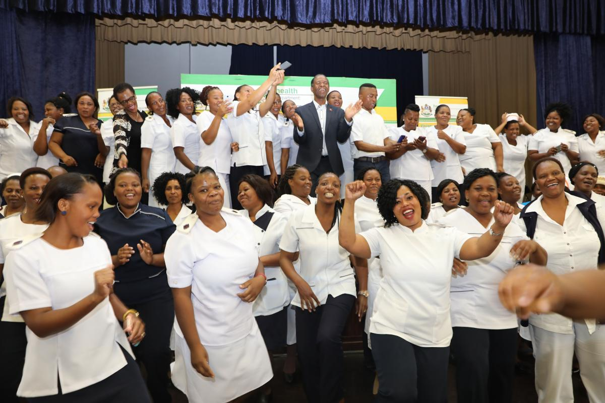 Jubilations! Nurses celebrate the good news of their employment, thanks to President Cyril Ramaphosa's stimulus package.