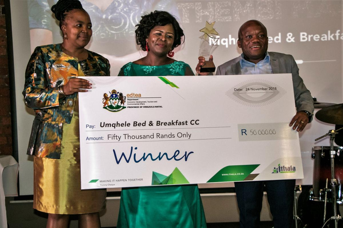 Thembi Maseko walked away with R50 000 at the Imbokodo Iyazenzela Women in Business Awards, hosted by the Ithala Development Corporation.