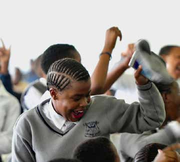 Jubilation for pupils in Mpumalanga following the launch of the National Sanitary Dignity Programme.