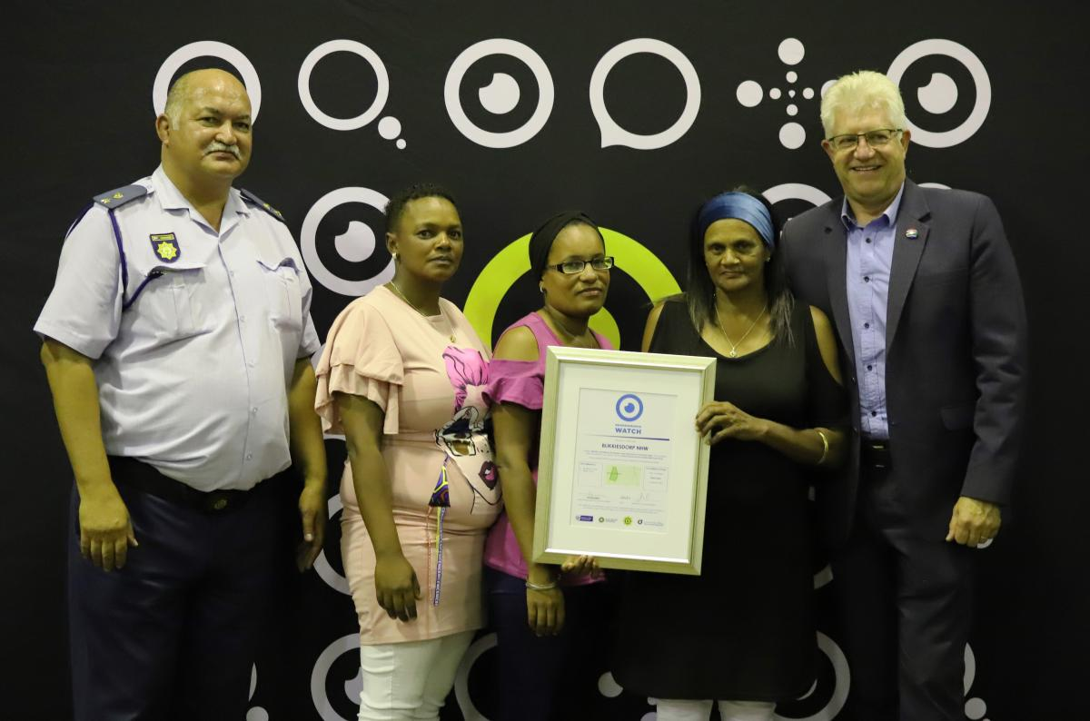 Accredited neighbourhood watches receive a certificate and equipment from the Department of Community Safety.