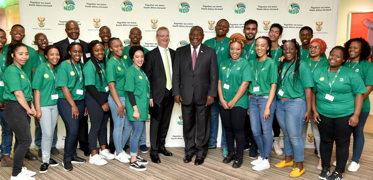 President Cyril Ramaphosa with some of the young people who are working for Nedbank through the YES initiative.
