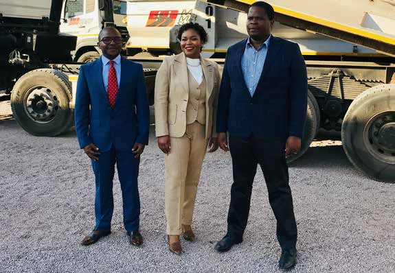 IDC Limpopo regional manager Kgampi Bapela (left) with the owners of Maloka Machaba Surfacing Kate Machaba and Matshela Maloka.