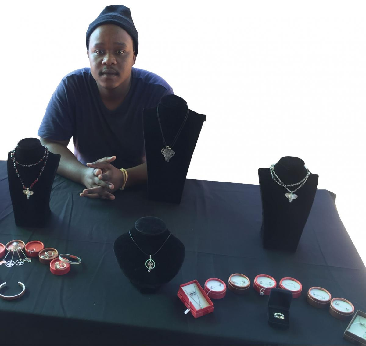 Owner of KG Jewellery Kgaugelo Molope with some of his jewellery.