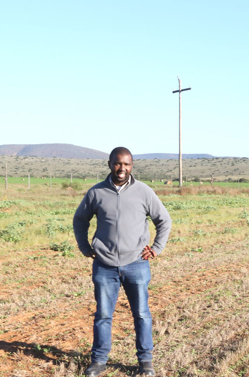 Aviwe Gxotiwe at his Somerset East farm which he received through the Department of Rural Development and Land Reform's Proactive Land Acquisition Strategy (PLAS) programme.