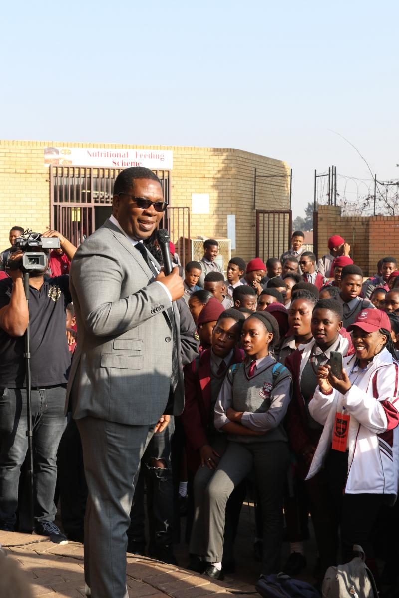 Gauteng Education MEC Panyaza Lesufi addresses pupils at the newly-opened Pace Commerce and Entrepreneurship School of Specialisation in Jabulani, Soweto.