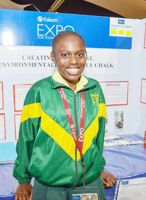 HP Ngwenya Public Primary School pupil Maluta Gcabashe has invented a new chalk that emits less dust.