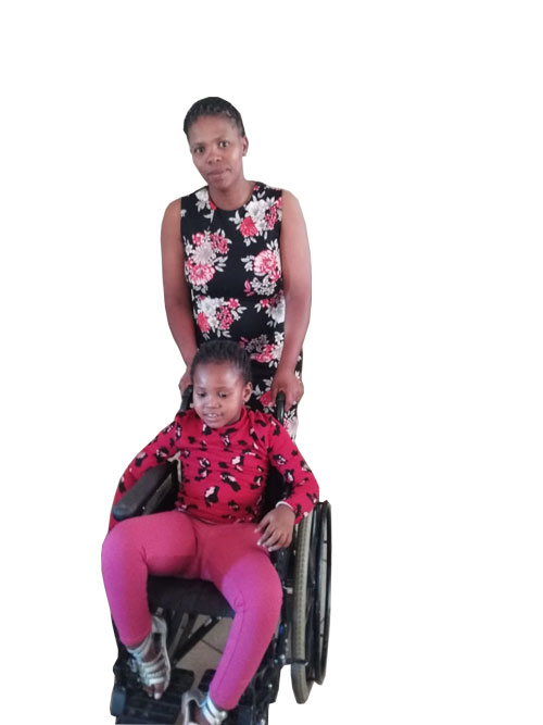 Elizabeth Bacela with her daughter Lithemba who has cerebral palsy and a speech impairment. Lithemba is now receiving the neccessary care from the newly opened ECDs in Upington.