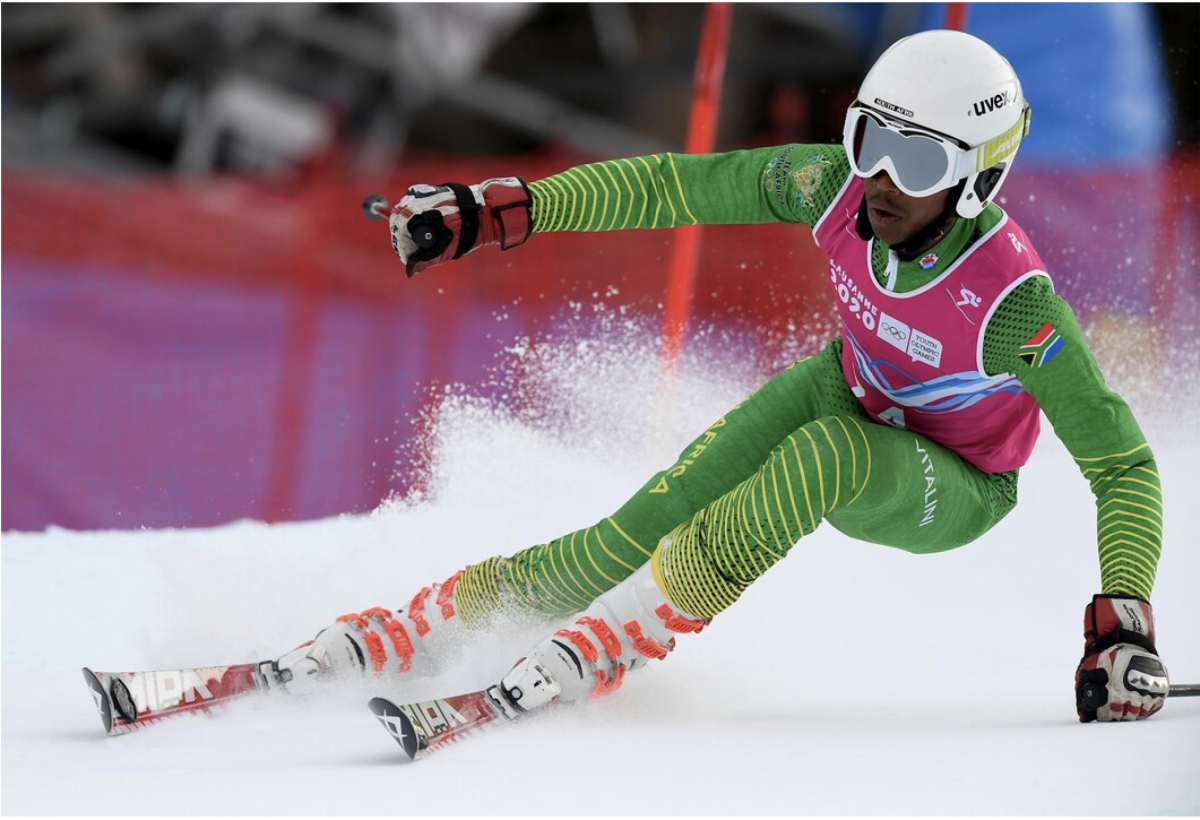 Thabo Rateleki skiing at Slalom race in Switzerland during the 2020 Winter Youth Olympic Games.