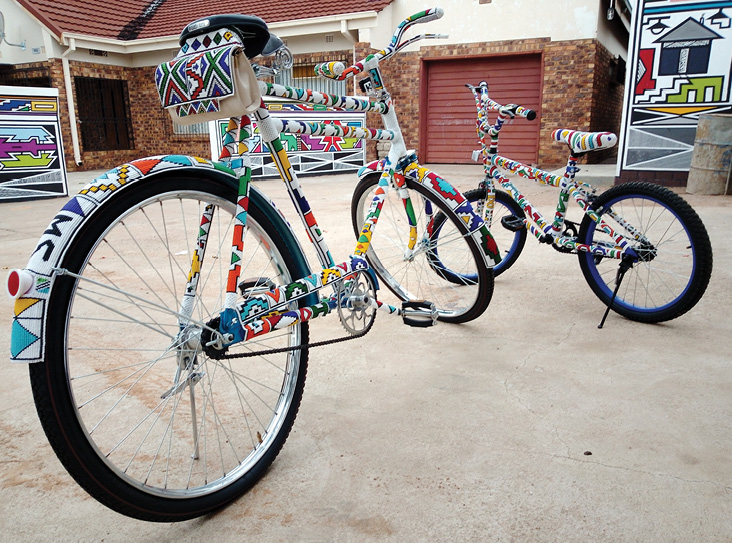 The intricately beaded bicycles that won the Beading Category of the Innibos National Craft Awards in 2020. Photo: Helene Smuts, Africa meets Africa NPC, (www.africameetsafrica.co.za)