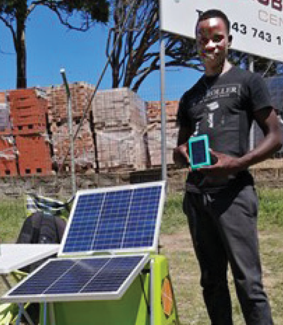 Gcina Dzingwe with the BabyTurtle solar panel