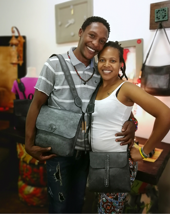 Nick and Nicole Nyalungu are the founders of Vegan Fashion, which makes designer bags and shoes from old bicycle and car tyre tubes.