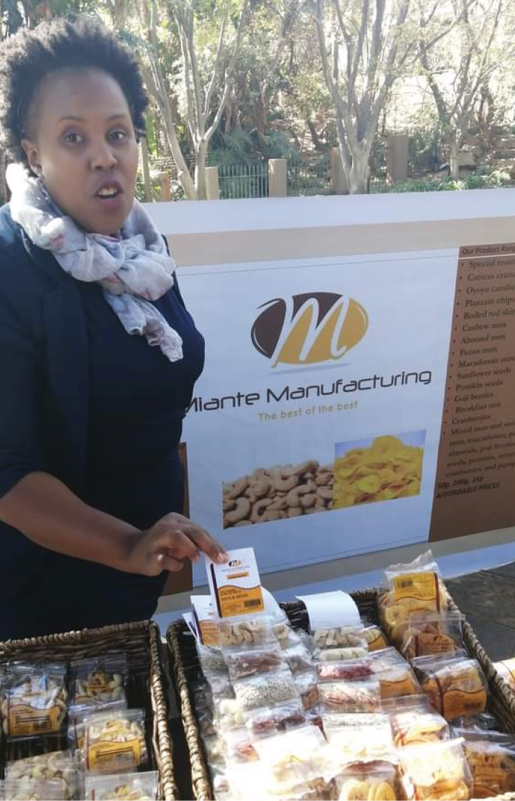 Wendy Mpendulo with some of her nut products.