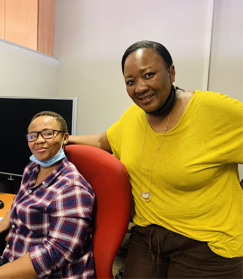 Extending a helping hand are Sindiswa Jojozi and Barata Molopyane who work for the Gender-Based Violence Command Centre.