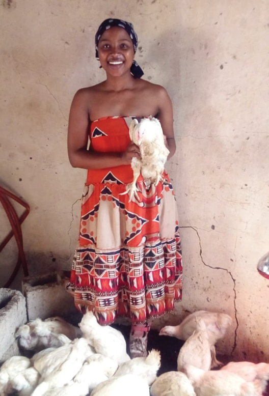 Andile Simelane has used some of her Child Support Grant to start a chicken business.