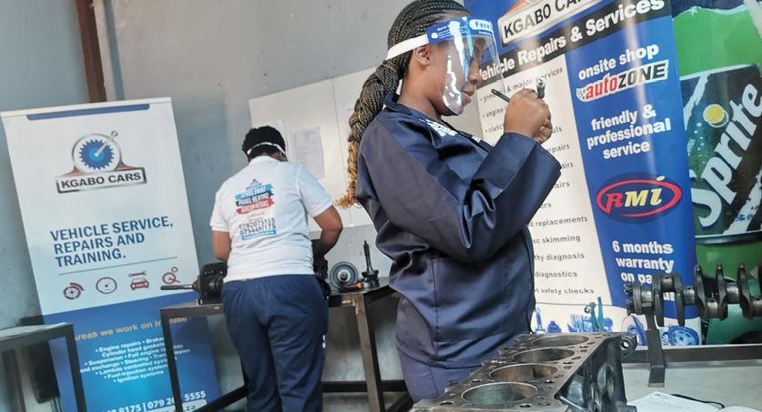 Kgabo Cars is providing opportunities for women and youth to train in car mechanics.