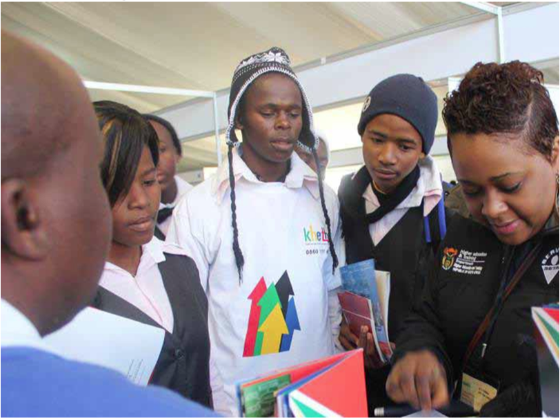 Photo caption: Gearing up for their future, learners find out more about Further Education and Training colleges at the Department of Higher Education and Training's Career Day held in the North West recently.