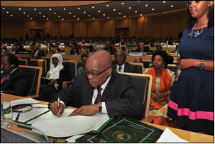 President Jacob Zuma signs the AU 50th Anniversary Declaration at the AU Headquaters in Addis Ababa,Ethiopia.
