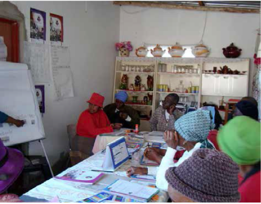 Adult learners in Soshanguve learn to read and write through fun projects, as part of the Kha ri Gude literacy campaign.