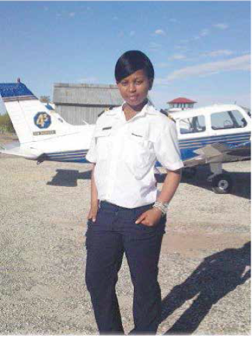 Oyama Matomela received a bursary from the Eastern Cape Department of Transport to study at 43 Air School. She is now a student pilot instructor at the Johannesburg-based Superior Pilot Services