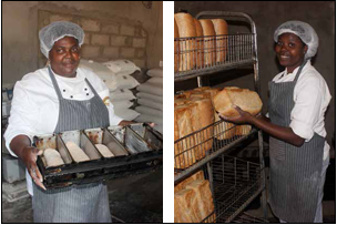 Meriam Ngomane says the Redibone Cooperative has given her a new lease of life.; Members of the Rebone Bakery take pride in their daily bread. (Pictures: Mduduzi Tshabangu.)