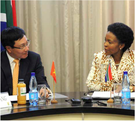 International Relations and Cooperation Minister Maite Nkoana-Mashabane and her Vietnamese counterpart, Minister Pham Binh Minh, met recently to strengthen relations between the two nations. South Africa and Vietnam share a 20-year friendship that has seen the two nations develop deep social, economic and cultural ties.