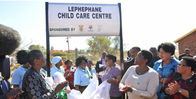 Minister Bathabile Dlamini was joined by Deputy Minister Hendrietta Bogopane-Zulu, Deputy Minister Maggie Sotyu and onlookers at the opening of yet another Early Childhood Development centre to give more learners a firmer foundation for their education.