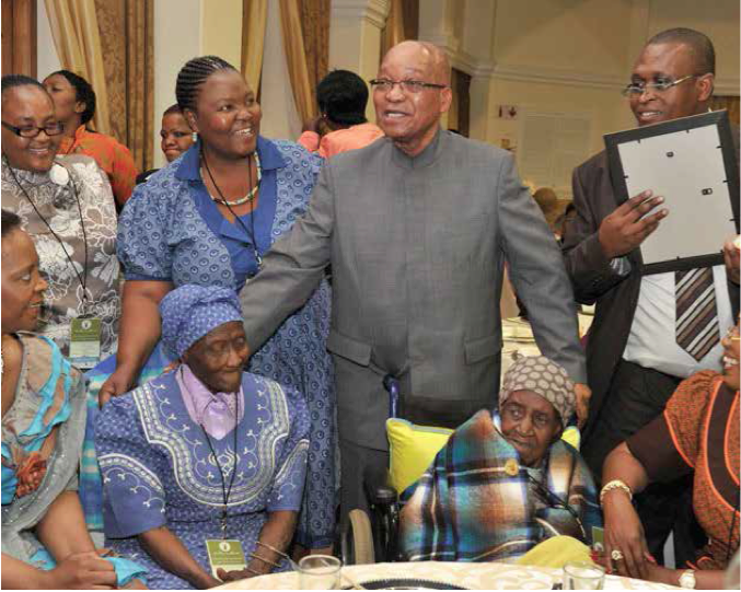 Photo caption: President Jacob Zuma with the 130-year-old Mama Johanna Ramatse (right) and her 95-year-old daughter Welheminah Phiri (left) at the launch of Older Persons Week.