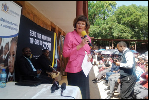 Gauteng Education MEC Barbara Creecy appealed to learners to take a stand against crime during the launch of the Young Crime Liners initiative at Mosupatsela Secondary School in Kagiso recently.