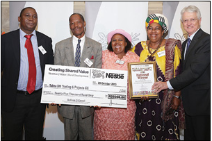 Dorcus Modise (third from left) was overjoyed at being named overall winner at the Nestlé Community Nutrition Awards. Sharing in the moment were (from left) Lot Molati of the United Nations Food and Agriculture Organisation, Modise's husband Bernie Modise, 2013 Best Subsistence Farmer of the Year Kenalemang Kgoroeadira and Nestlé managing director and chairman Sullivan O'Carroll.