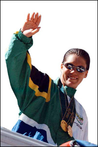 Penny Heyns brought glory to a democratic South Africa at the 1996 Atlanta Olympic Games, winning gold in the 100m and 200m breaststroke.