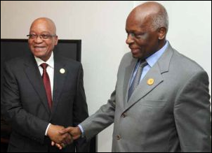President Jacob Zuma greets Angolan President Jose Dos Santos ahead of the International Conference on the Great Lakes Region.