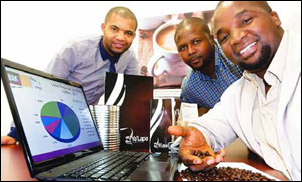 Funding from the Gro-E Youth Scheme has helped Roland Jordaan, Mbuleli Kral and Knight Mali grow their coffee business.