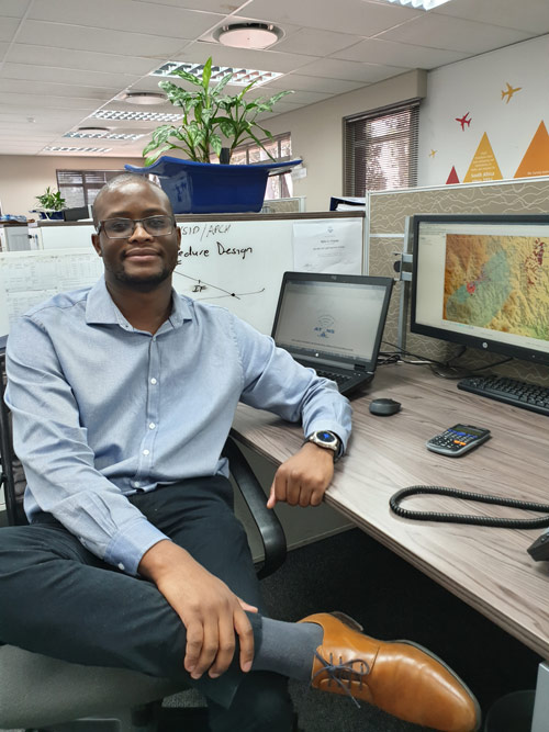 Mpho Chepape is a Flight Procedure Design Specialist. He designs routes procedures in the sky to protect flights from crashing into obstacles such as buildings and other structures.
