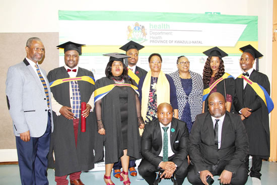 Health MEC Dr Sibongiseni Dhlomo (far left) with some of the 13 medical graduates from KwaZulu-Natal.