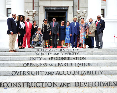 President Cyril Ramaphosa has unveiled inscriptions depicting the values of the Constitution of the Republic of South Africa on the steps of Parliament.