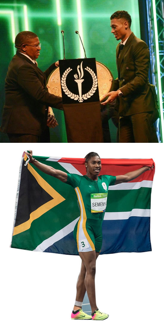 [top] Minister Fikile Mbalula hands over Wayde van Niekerk one of his many awards. [bottom] Caster Semenya won Sportswoman of the Year.
