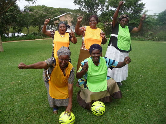 Gogos practising soccer ahead of the 2016 Gog0 Olympics